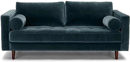 Rti Harper Scott Petrol Blue Velvet 2 Or 3 Seater Sofa Modern Contemporary Retro Style Petrol Blue 2 Seater Amazon Co Uk Kitchen Home