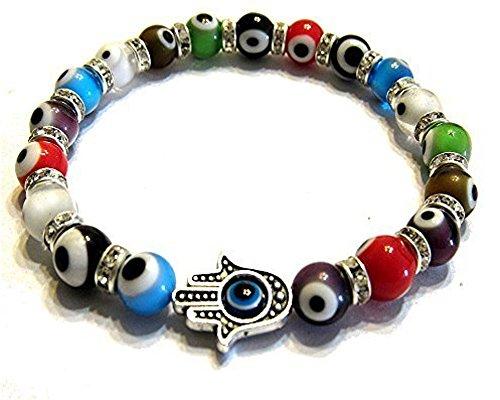 Fashion Jewelry Turkish Murano Evil Eye Bracelet with Blessing Hamsa Hand ()