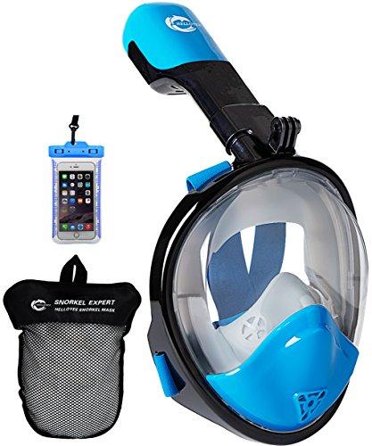 HELLOYEE Full Face Snorkel Mask Adults Kids Panoramic View Snorkeling Mask Free Breathing Anti-Fog Anti-Leak Design Detachable Camera Mount (Black-Blue, XS)