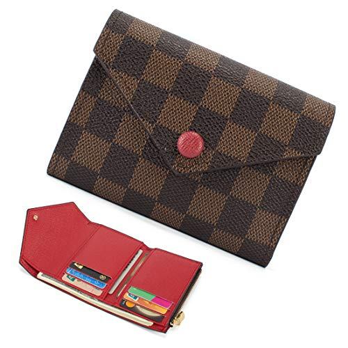 Trifold Wallets for Women Practical Compact Checkered Wallet and Blocking with Card Holder Organizer -PU Vegan Leather (Compact Wallet Brown)