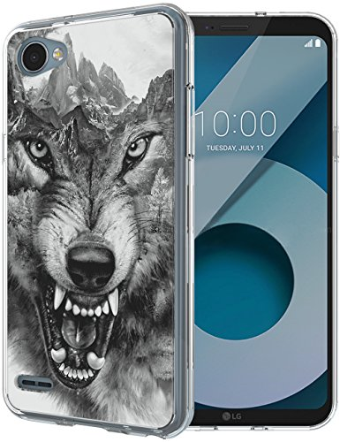 Dire Tiger - LG Q6 Case, Ailiber Cool Direwolf Design Slim-fit Defender Shockproof Hard PC TPU Bumper Clear Protective Cover for LG Q6 5.5 inch - Gray Wolf