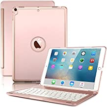 New iPad Pro 10.5 Keyboard Case,Boriyuan Protective Ultra Slim Hard Shell Folio Stand Smart Cover with 7 Colors Backlit Wireless Bluetooth Keyboard for Apple iPad Pro 10.5 inch 2017 Tablet (Rose Gold)