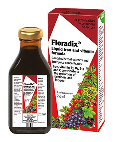 Floradix Liquid Iron + Herbs Supplement 8.5 oz - All Natural, Vegetarian, Vitamin C, Non Constipating - Supports Iron Deficiency & Anemia for Women & Men