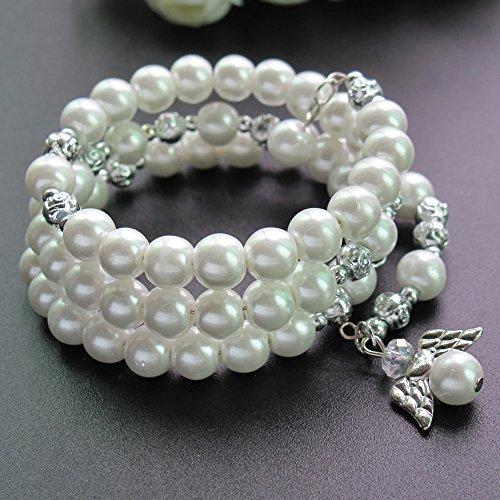 Baptism Favor 12PC Rosary Wrap Angel Bracelet Pearl White - Wedding Favors