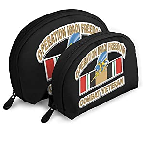 US Navy Seabees Operation Iraqi Freedom Combat Veteran Ladies Portable Shell Cosmetic Pouch Storage Bag Toiletry Organizer