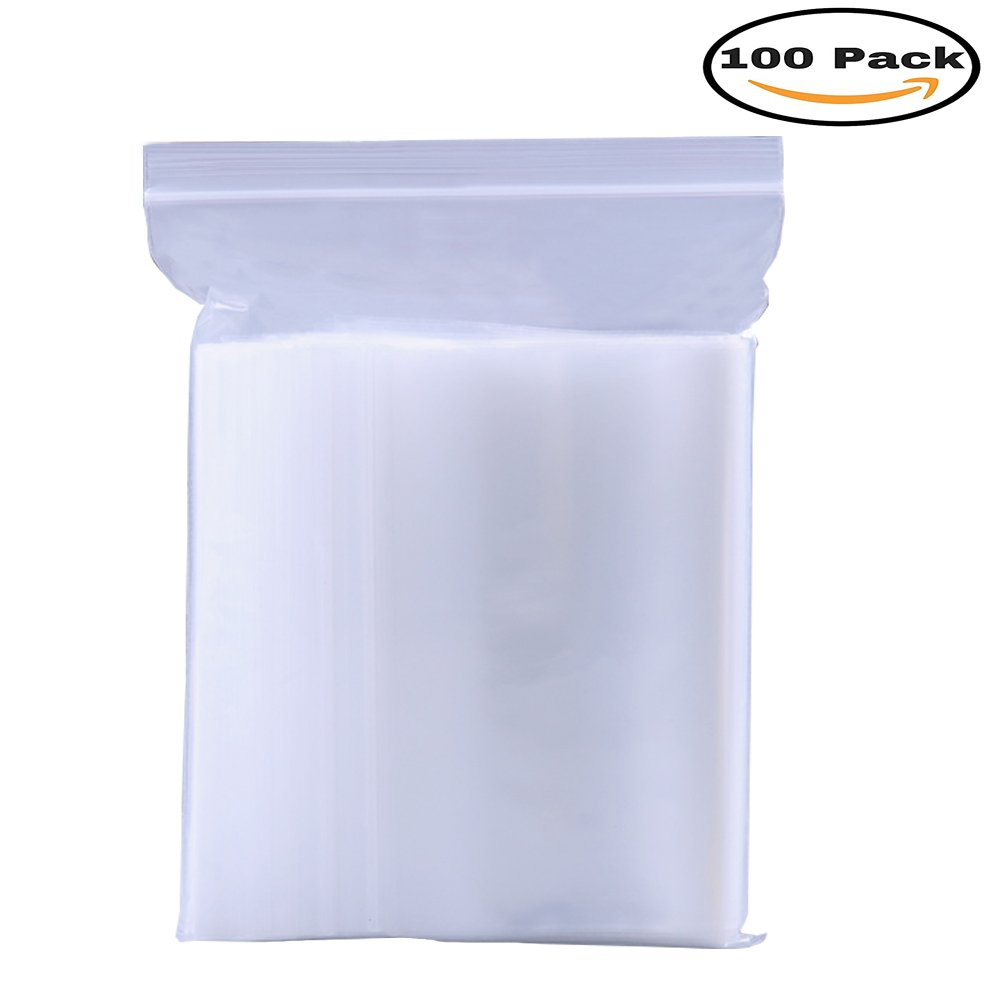 Mydio 100 pcs 10'' x 14'' Reclosable Plastic Poly Clear Bags,Clear Self Sealing Lock Bags(25cm x 35cm)