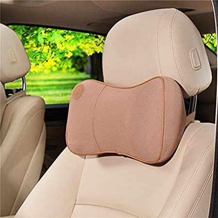 Car Pillow Dometool UK Car Seat Headrest Head Pillow Neck Camail Cushion Memory Foam Elastic,Khaki