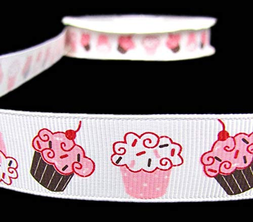 - 5 Yards Strawberry Vanilla Pink White Sprinkle Cupcakes Grosgrain Ribbon 7/8