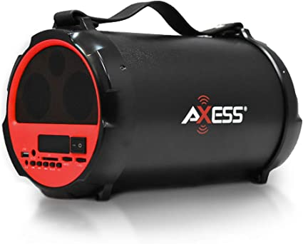 AXESS SPBT1037RD  Bluetooth In-Outdoor 2.1 Hi-Fi Cylinder Loud Speaker Built-...