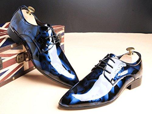 48 pelle Scarpe stampa verniciata in da 47 sposa dimensioni 45 sera poliestere 46 Scarpe 50 49 da grandi da CYGG Scarpe scarpe in Scarpe derby oxford blue uomo casual TIw44qC