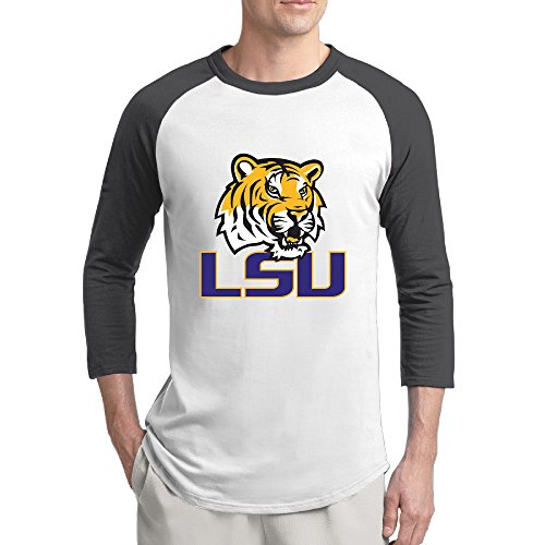 WG Louisiana State University Tigers & Lady Tigers Fashion 3/4 Sleeve Shoulder T Shirts Black Men Bottoming Shirt XX-Large