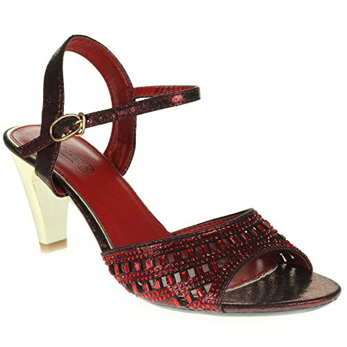 Party Ladies AARZ Sandals Women High Heel LONDON Wedding Evening Size Diamante Maroon Crystal Shoes Peeptoe Prom Bridal qEA0SE