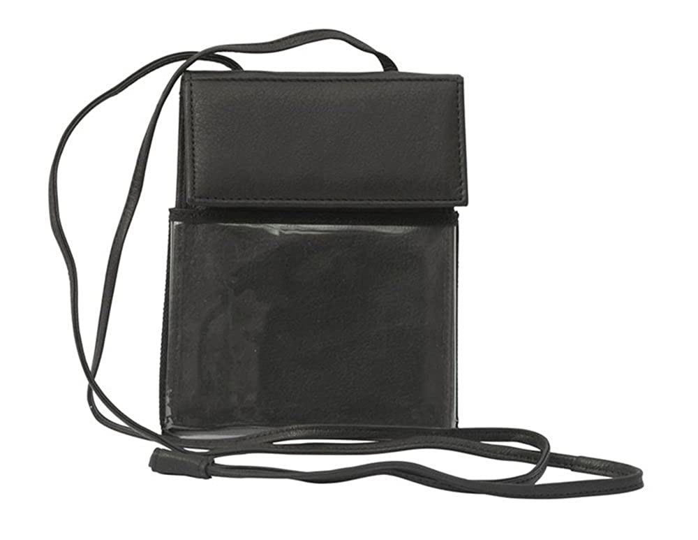 Bravo Combination Leather Trade Show Badge Id Holder Passport Travel Wallet Document Pouch Neck Tote