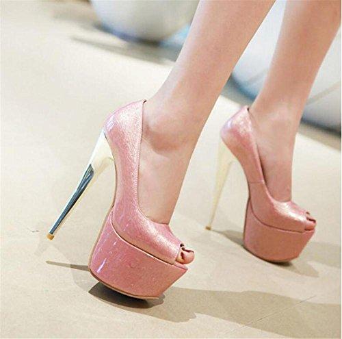 tamaño del pink Plataforma mujer Boda Noche Club Abierto Zapatos Bombas Dedo aguja y de Tacón a 41 Fiesta pie Sandalias 35 de 866wq1T