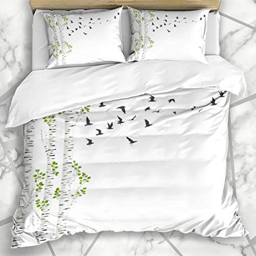 Ahawoso Duvet Cover Sets Queen/Full 90x90 Chevron Green Aspen Birch Trees Birds Flying Nature Spring Abstract Branch Color Design Summer Microfiber Bedding with 2 Pillow Shams