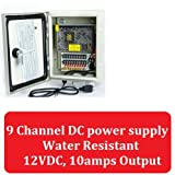 12V DC Power Supply 9 Channel Weatherproof Indoor Outdoor Distribution Box for Surveillance Security Cameras etc.