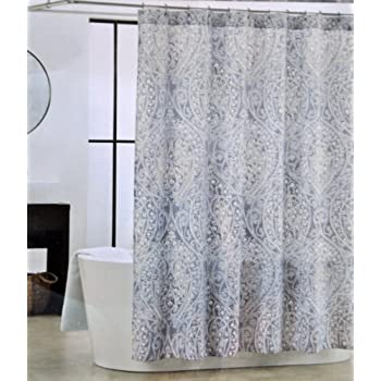 Amazon.com: Tahari Nedie Shower Curtain Gray Paisley with Silver ...