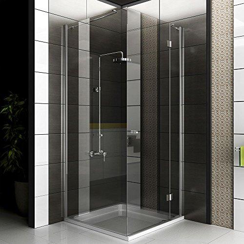 Duschkabine rahmenlos / Echtglas Eck Dusche / Alpenberger / Glasdusche ca. 90 x 90 x 200 cm / Duschabtrennung aus Sicherheitsglas mit Glasveredelung