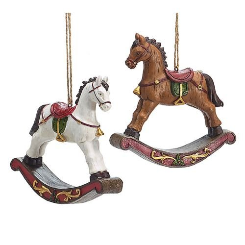 Christmas Holiday Decor Hand-Painted Resin Rocking Horse Ornaments (Set of 2)