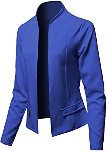 Fasclot Top and Blouse for Women Blazer Tops Long Sleeve Jacket Ladies Office Wear Cardigan Coat 4th of July, Blouses of Short Sleeve Onsale Blue S