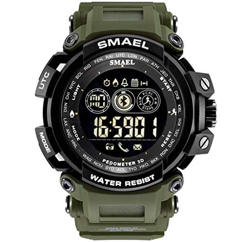 Finedayqi ❤ SMAEL Smart Watch Waterproof Bluetooth Sport Wrist Watch for Android iOS Phone (Army Green) ()