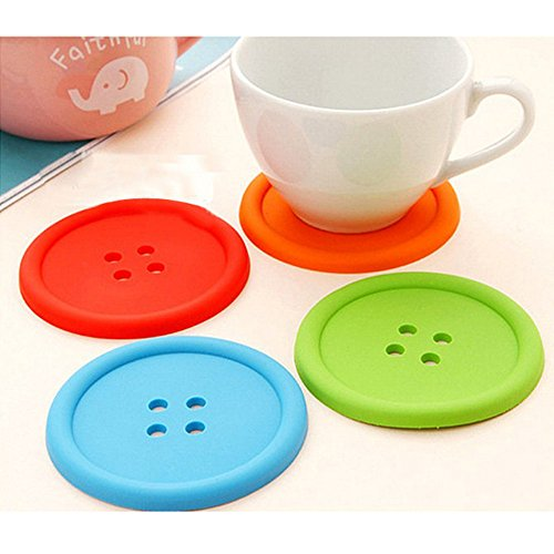 UONLY® 5pcs Cute Button Shaped Round Silicone Coaster Cup Mat Placemat Random Color