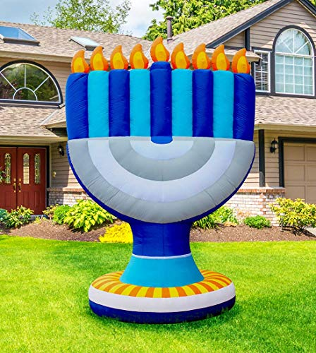 Zion Judaica Inflatable Lawn Giant Hanukkah Menorah Indoor Outdoor Decoration with LED Night Glowing Lights - 11' -