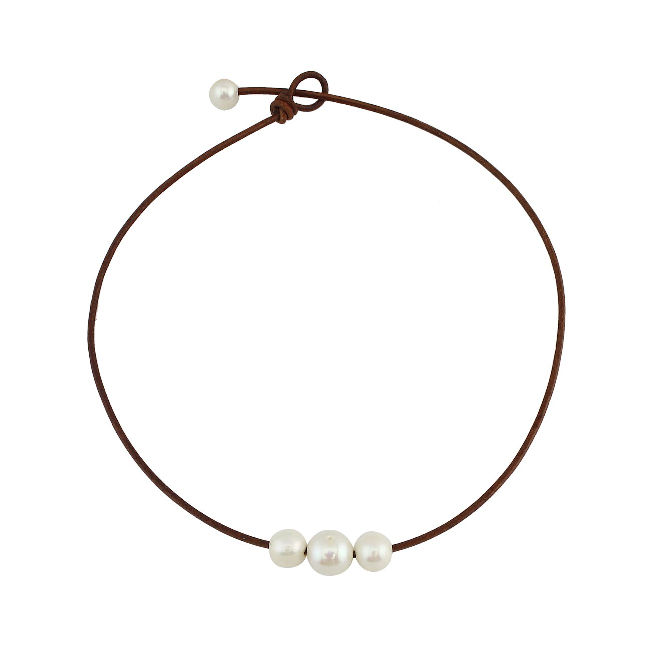 16'' Orange Brown Handmade 3 Pearl Choker Necklace Beads on Genuine Leather Cord 4 Size Available