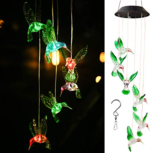 WERTIOO Solar Hummingbird Wind Chime Color Changing Solar LED String Lights Outdoor Mobile Hanging Patio -