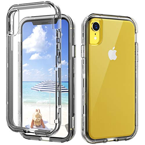 SKYLMW iPhone XR Case,Shockproof Three Layer Protection Hard Plastic & Soft TPU Sturdy Shockproof Armor High Impact Resistant Cover Case iPhone XR 2018(6.1 inch),Clear  Price: $11.99
