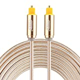 Optical Cables, EMK 3m OD4.0mm Gold Plated Metal Head Woven Line Toslink Male to Male Digital Optical Audio Cable (Color : Gold)