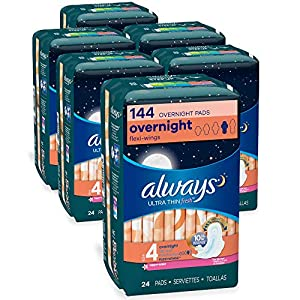 Always Ultra Thin Feminine Pads with Wings for Women, Size 4, Overnight Absorbency, Scented, 24 Count – Pack of 6 (144…