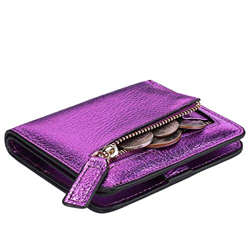 Itslife Women's Rfid Blocking Small Compact Bifold Leather Pocket Wallet Ladies Mini Purse with id Window (Pebbled Purple Gold)
