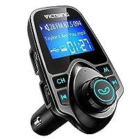 """VicTsing Bluetooth Transmisor FM para automóvil, Adaptador inalámbrico de transmisor de radio Bluetooth con llamadas de manos libres y pantalla LCD de 1.44 """", Soporte de reproductor de música Tarjeta TF Unidad USB Flash USB AUX-Negro"""