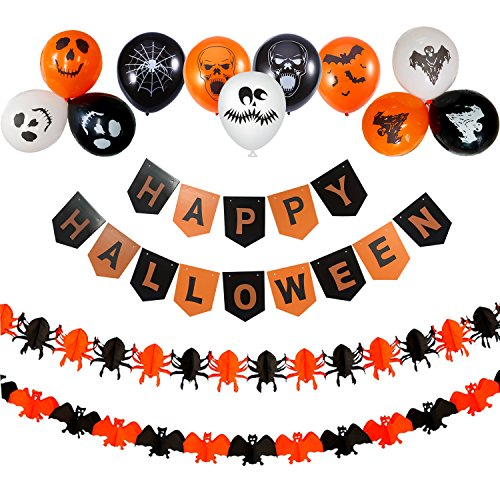 Halloween Party Decoration, Wartoon Happy Halloween Bunting Banner with Halloween Pull Flowers Paper Spider Bat Decoration and 30 PCS Halloween (Easy Halloween Crafts Made Out Of Paper)