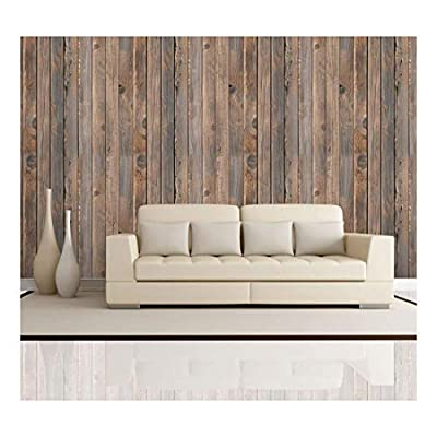 Wonderful Piece, Made With Love, Vertical Brown Vintage and Retro Wood Textured Paneling Wall Mural Removable Wallpaper