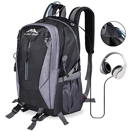 7f3ba7bdab68 LGC Products Hiking Backpack 30L Waterproof,Travel-Hiking Backpacks for Men  and Women with Headphone Interface