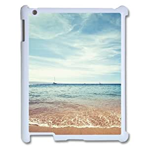 3D [Nature & Landscape] at the Shore Case for IPad 2,3,4 2D, IPad 2,3,4 2D Case Luxury Brand Hardshell for Girls {White}