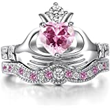 Women Fashion 925 Silver Pink Kunzite Irish Claddagh Wedding Ring Set Size 6-10 (8)