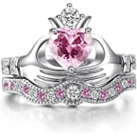 Women Fashion 925 Silver Pink Kunzite Irish Claddagh Wedding Ring Set Size 6-10 (6)