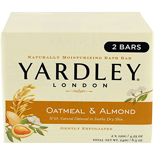 Yardley London Oatmeal and Almond Naturally Moisturizing Bath Bar, 4.25 oz., 2 (Oatmeal Bath Bar)