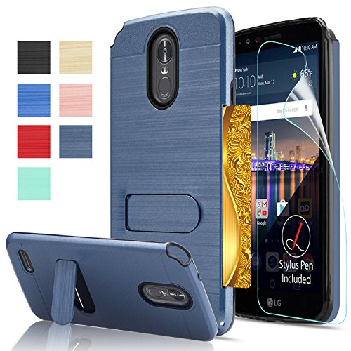 LG Stylo 3 Case, LG Stylo 3 Plus Case, LG Stylus 3 case with HD Screen Protector,AnoKe[Card Slots Holder][Not Wallet] Plastic TPU Hybrid Shockproof for LG LS777 KC1 Metal ()