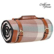 Picnic Blanket Extra LARGE LUXURIOUS Outdoor Blanket 87 Inch x 67 Inch with Waterproof Layer for Outdoor Picnics | Heavy Duty Acrylic Fibers | Stylish Faux Leather Handles Steel Straps | Sand proof