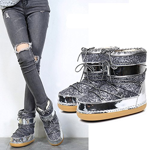 Bandage Bandage Silver Thick Boots Winter Boots Space Soled Female ZY0qwx1v