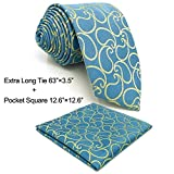 SHLAX&WING New Paisley Mens Necktie Slate Blue Light Yellow Tie Set for Men Suits