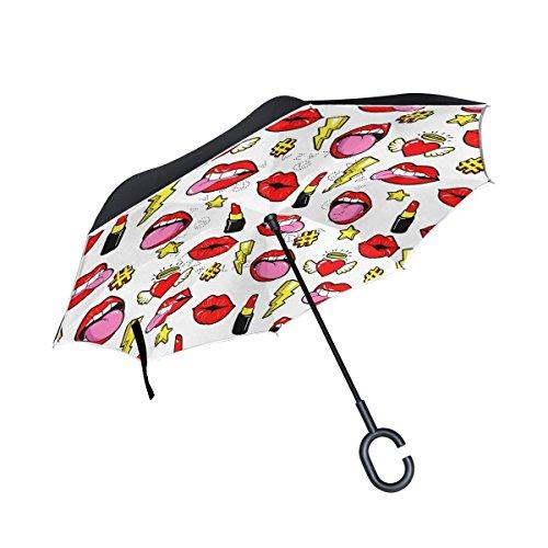 - Ladninag Inside Out Folding Fashion Lipstick Lip Heart Inverted Umbrella, Large Double Layer Outdoor Rain Sun Car Reversible Umbrella