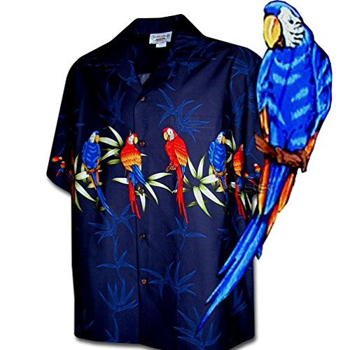 Border Hawaiian Aloha Shirts (Parrot Bamboo Border Men's Hawaiian Shirt 3636440NAVY-2XL)
