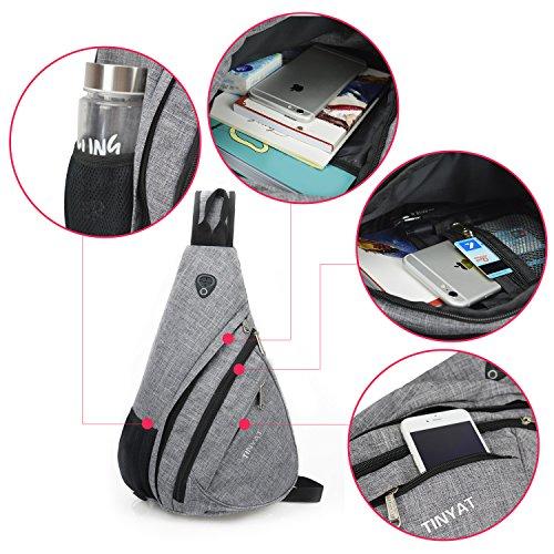 TINYAT Sling Bag Chest Bag Travel Casual Crossbody Shoulder Bag for Women Men T509 (Grey/Large)