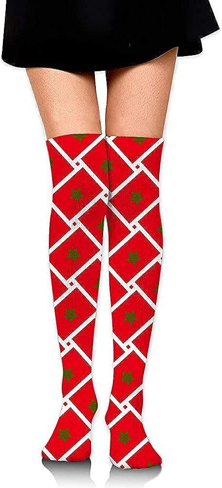 Not/Applicable Calf Sock Marokko Flag Weave Party Kniehohe Socken Stiefel Strumpf Lange Socken Laufen Kompressionssocken Frauen Cosplay Kleid Bequeme Mode L/ässig Bunt Weich
