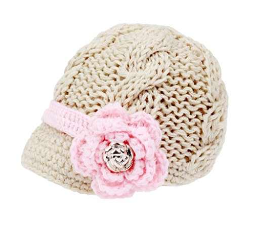 Bestknit Handmade Newborn Toddler Baby Girls Crochet Knit Brim Cap Hat Medium Ivory